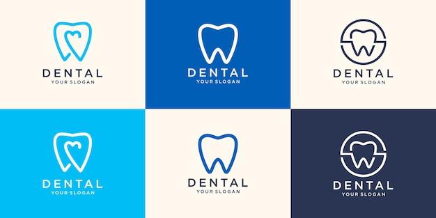 健康歯科ロゴデザインテンプレート線形スタイル。歯科医院のロゴタイプ。
