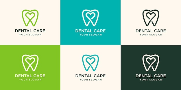 Health dental love logo design   template linear style. dental clinic logotype.