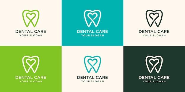 健康歯科愛ロゴデザインテンプレート線形スタイル。歯科医院のロゴタイプ。