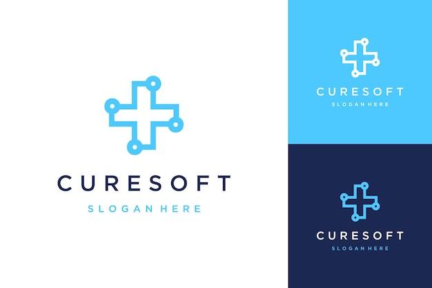 Логотип дизайна здоровья или знак плюса с технологией
