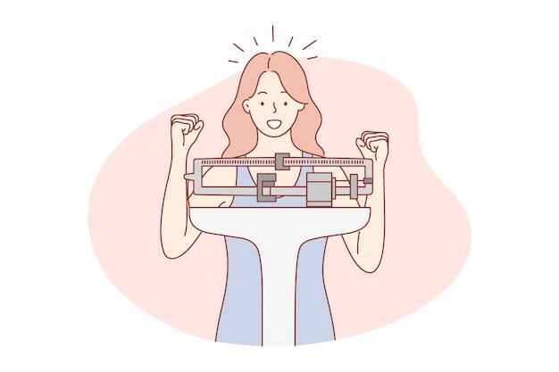 Health, diet, weight, goal achievement, success concept