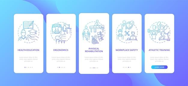 健康教育ダークブルーのオンボーディングモバイルアプリのページ画面とコンセプト