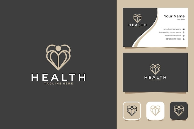 Здоровый элегантный дизайн логотипа и визитной карточки