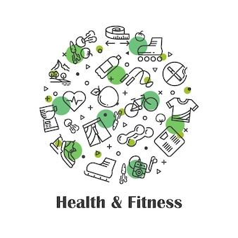 Health and fitness, fresh food outline icons