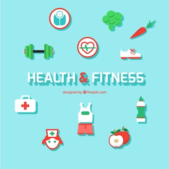 Health and fitness icons Free Vector
