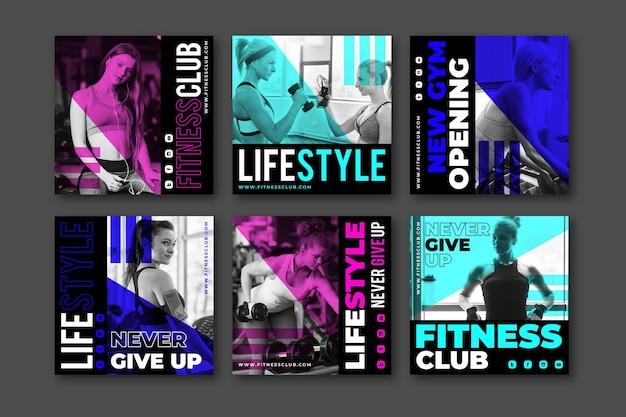 Raccolta di post su instagram di salute e fitness con foto