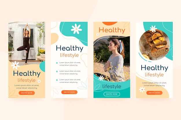 Health and fitness instagram stories collection with photo