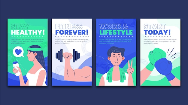 Raccolta di storie su instagram di salute e fitness