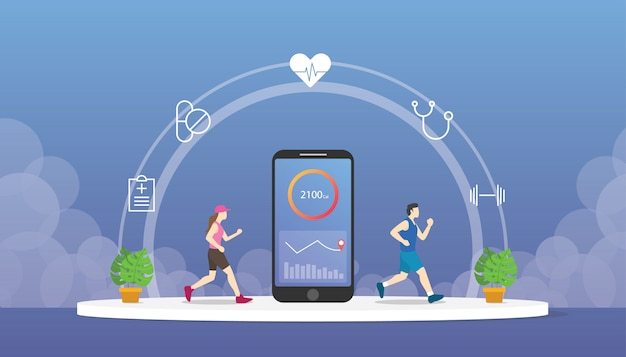 Health fitness tracker with smartphone apps