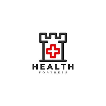 Health fortress logo template