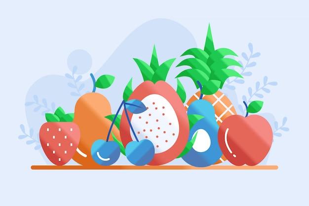 Иллюстрация здоровья фруктов