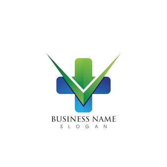 Логотип больницы здоровья и шаблон символа, зеленый логотип вектор