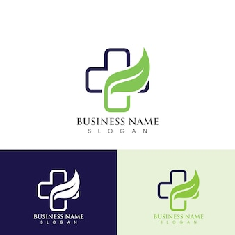 Health hospital logo and symbol template, green logo vector Premium Vector
