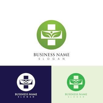 Health hospital logo and symbol template, green logo vector