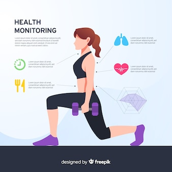 Health infographic template flat style