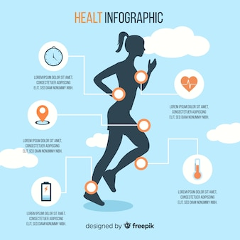 Health infographic template with a woman silhouette