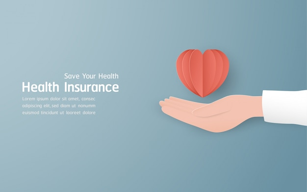 Health insurance banner on pastel blue