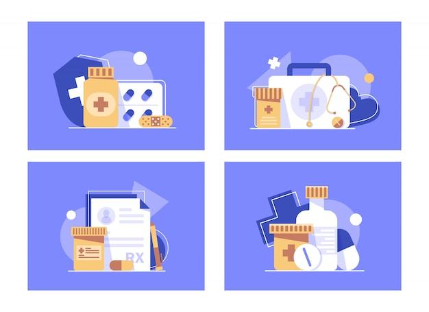 健康保険のコンセプトバナー、医学と医療のフラットなデザインコンセプト、フラットなデザインアイコンイラスト