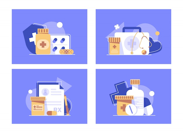 Health insurance concept banner,medicine and healthcare flat design concept,flat design icon  illustration