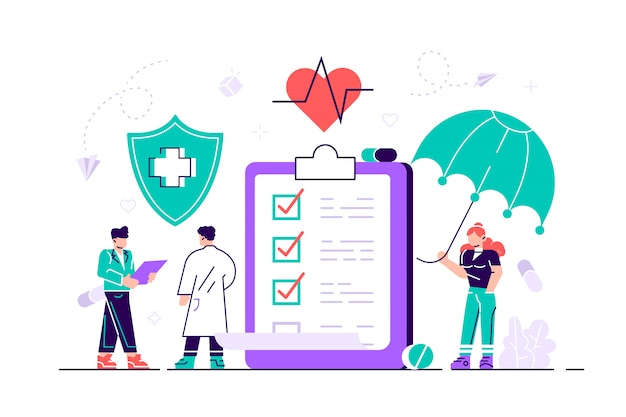 Health insurance concept. big clipboard with document on it under the umbrella. healthcare, finance and medical service. flat illustration in cartoon style modern design  isolated on white