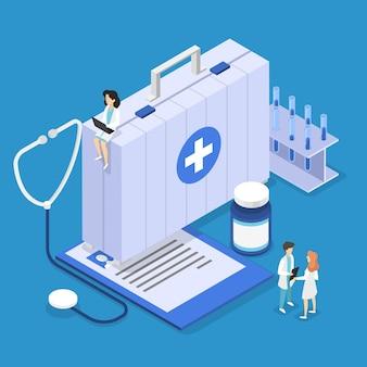 건강 보험 개념. 문서가 포함 된 큰 클립 보드