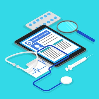 健康保険の概念。ドキュメント付きの大きなクリップボード