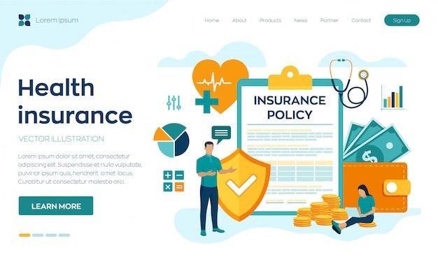 건강 보험 개념. 의료, 금융 및 의료 서비스 랜딩 페이지