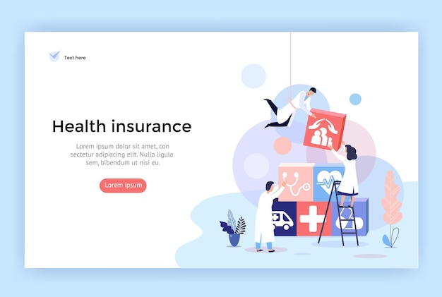 Health insurance concept illustrations healthcare and medical services banner