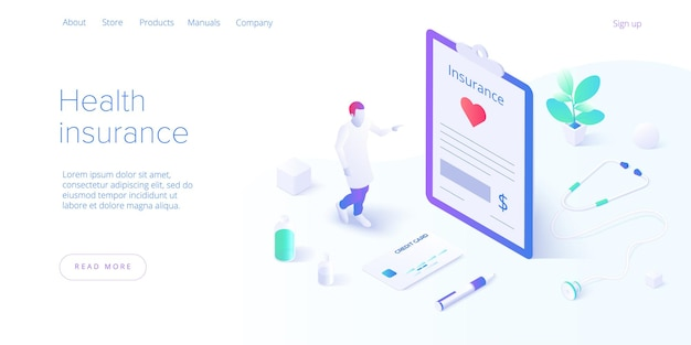 Health insurance concept in isometric design.