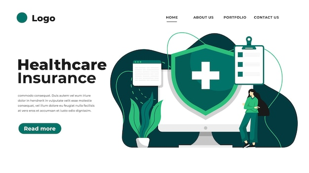 건강 보험 개념 방문 페이지.