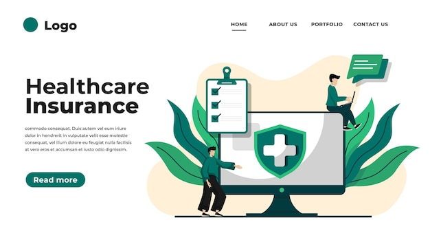 Health insurance concept landing page.