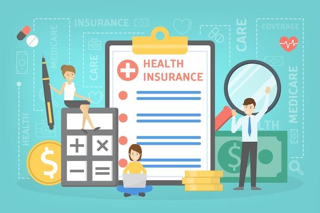 건강 보험 개념. 그것에 문서와 함께 큰 클립 보드에 서있는 사람들. 의료 및 의료 서비스. 돈 더미.