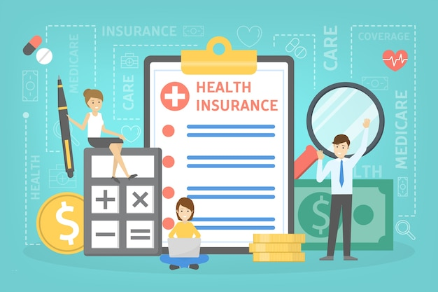 Health insurance concept. people standing at the big clipboard with document on it. healthcare and medical service. money pile.