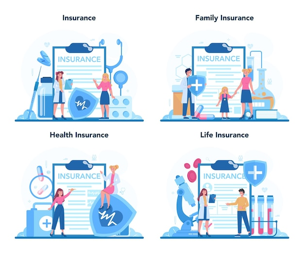Health insurance concept set. people and doctor standing at the big clipboard with document on it.