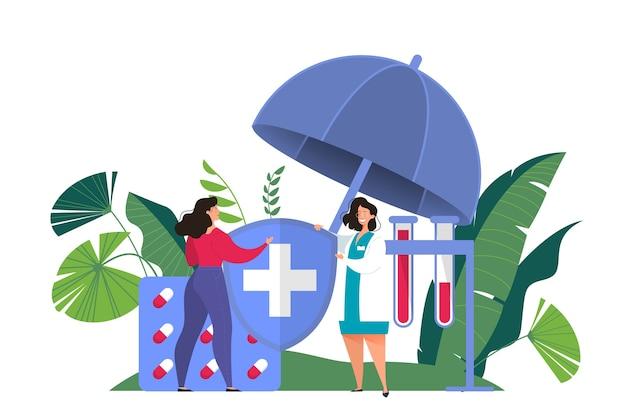 Баннер концепции медицинского страхования. женщина-врач предлагает медицинскую помощь женщине. здравоохранение и медицинское обслуживание. иллюстрация