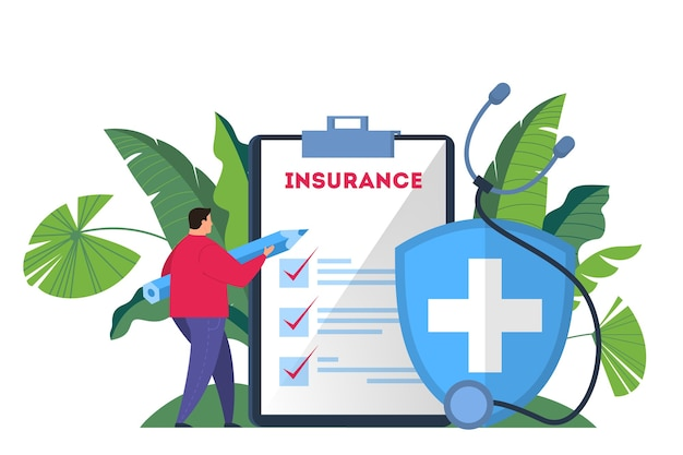 健康保険の概念webバナー。男は大きなクリップボードに立って、それに医療保険の書類に署名するペンを持っています。ヘルスケアおよび医療サービス。図