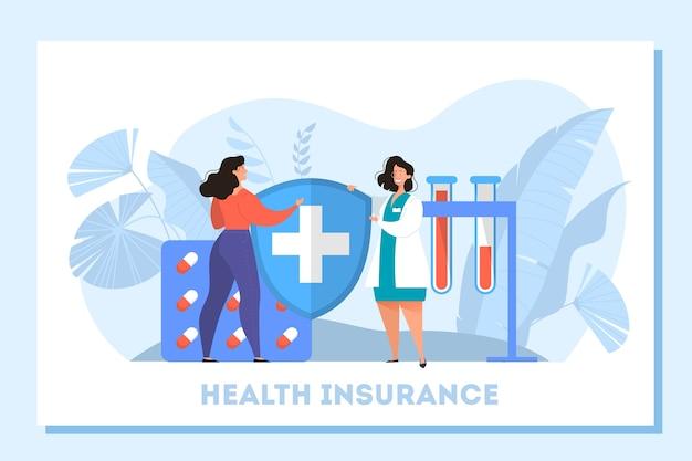 Баннер концепции медицинского страхования. люди и доктор, стоя у большого буфера обмена с документом на нем. здравоохранение и медицинское обслуживание. иллюстрация