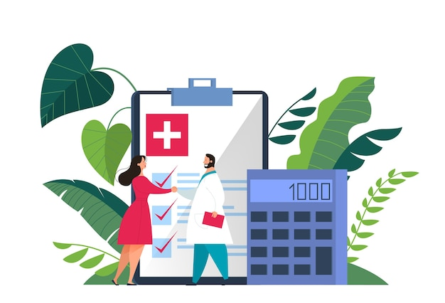 Health insurance concept web banner. people and doctor standing at the big clipboard with document on it. healthcare and medical service.    illustration