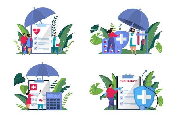 건강 보험 개념 웹 배너 세트입니다. 그것에 문서와 함께 큰 클립 보드에 서있는 사람들. 의료 및 의료 서비스. 삽화