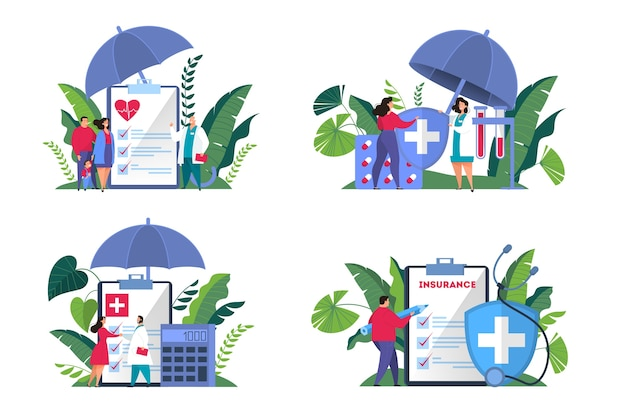 Health insurance concept web banner set. people standing at the big clipboard with document on it. healthcare and medical service.    illustration