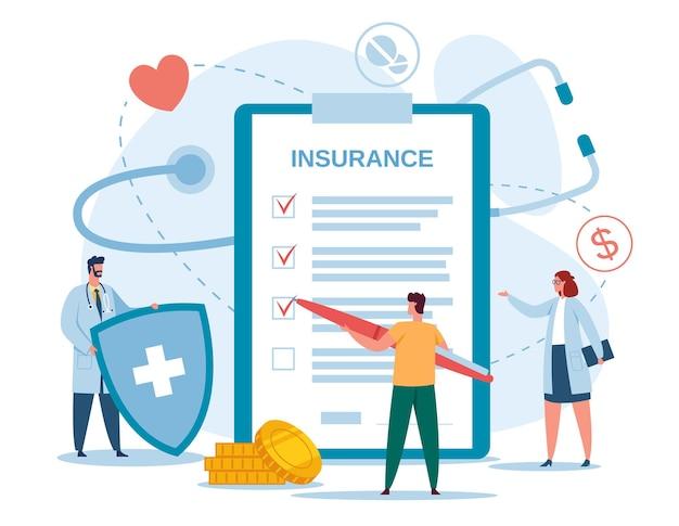 Медицинское страхование врач со щитом и медицинской концепцией пациента