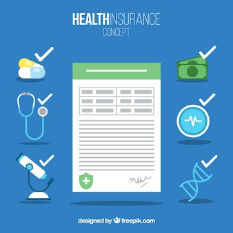Health insurance document and icons