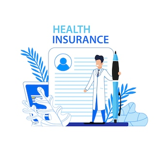 Health insurance flat advertising medical banner