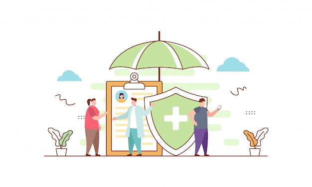 Health insurance in flat style