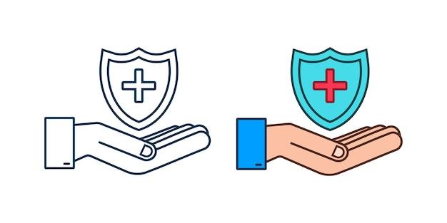Медицинское страхование руки держат страховой знак медицинская защита концепции медицинского страхования