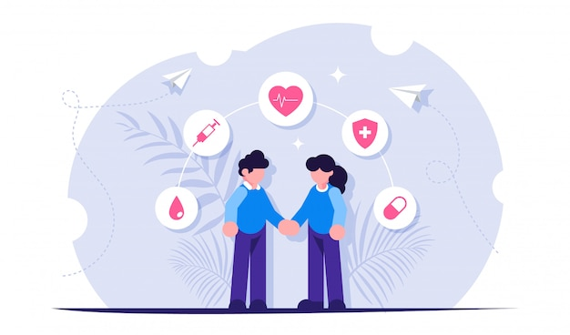 Health insurance or healthcare concept. people hold hands against the background of medical icons.