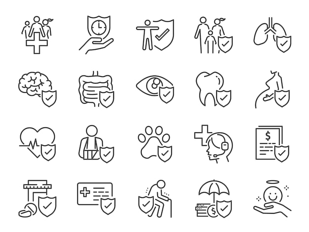 Health insurance icon set.