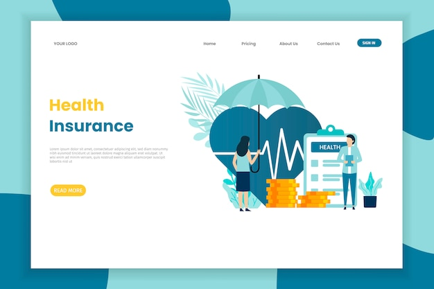 Health insurance illustration landing page template for site with umbrella