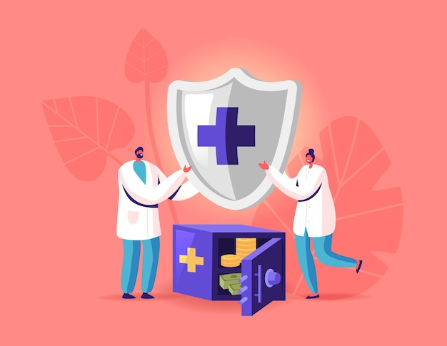Health insurance illustration. tiny doctor characters holding huge shield with cross stand near safe with money