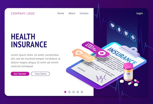 Health insurance isometric  landing page